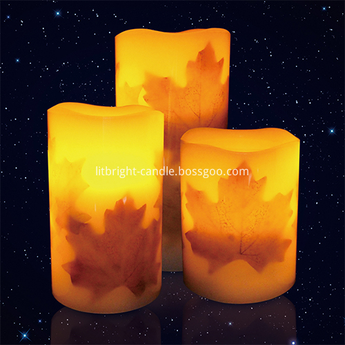 Multi Harvest Autumn Leaf LED Image Pillar Candle Kemudahan