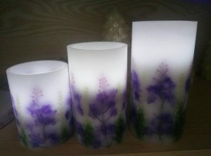 Flameless batire ulamuliro Lavender LED kandulo