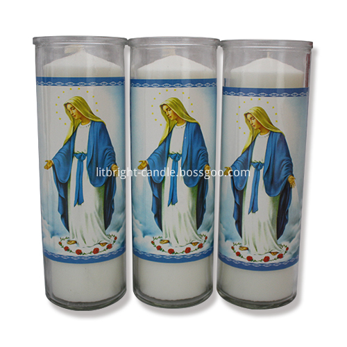 8 inches glass jar religious candle Featured Image